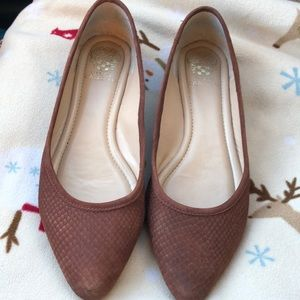 Vince Camuto  Leather Ballet Flats 11 Rust Brown